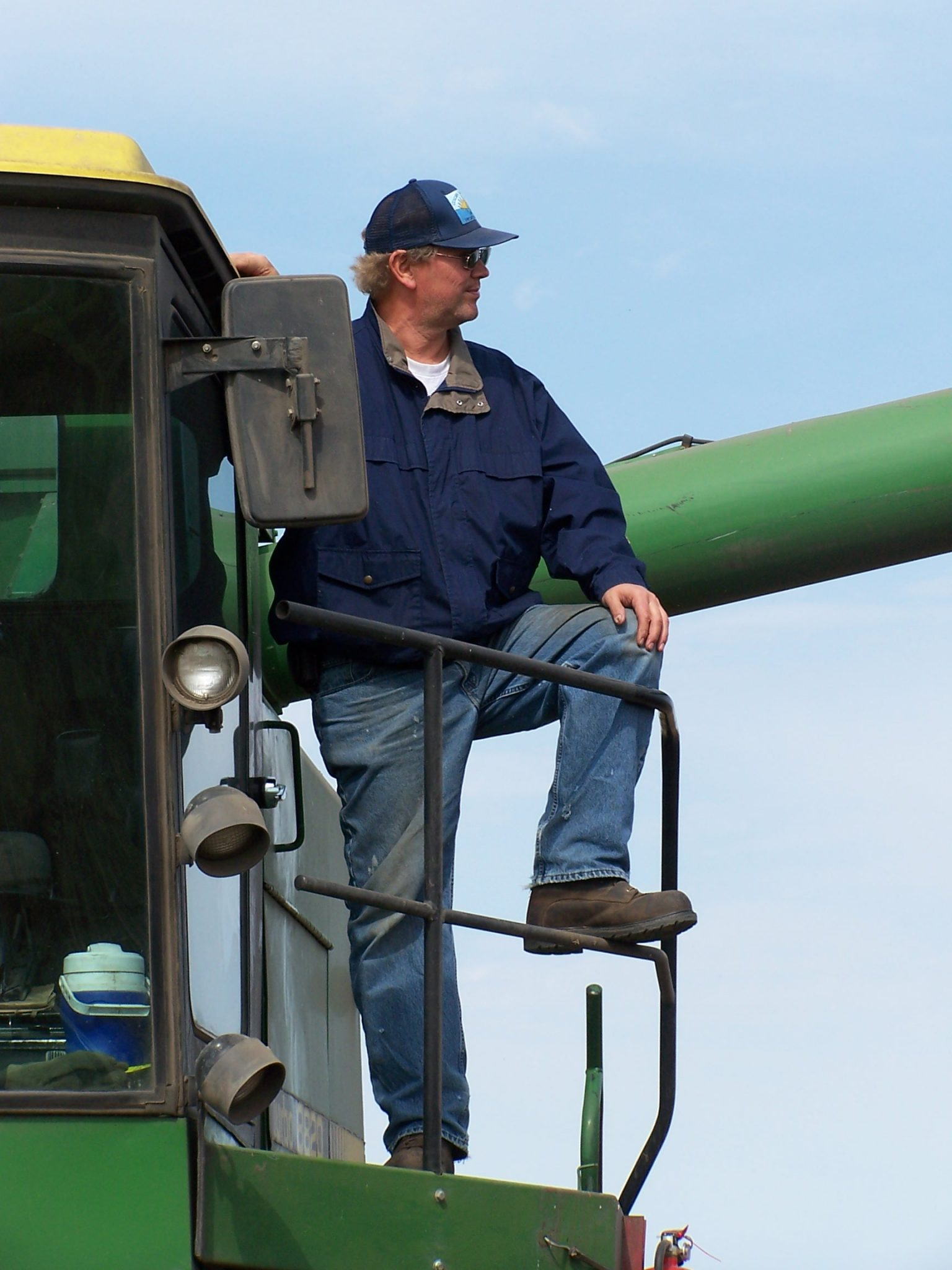 Mark Hylden on John Deere combine