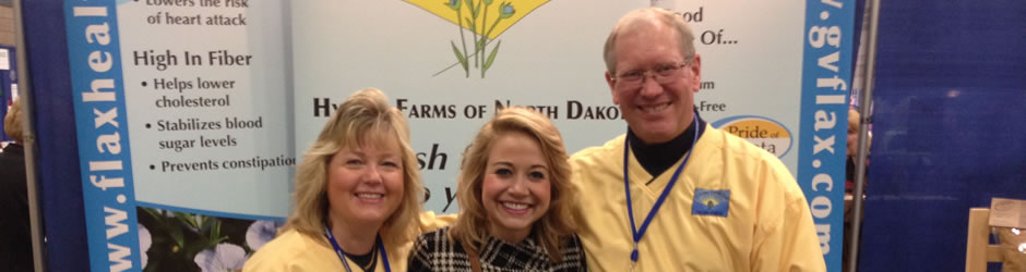 Esther and Mark with a customer at the North Dakota Department of Agriculture Pride of Dakota Show