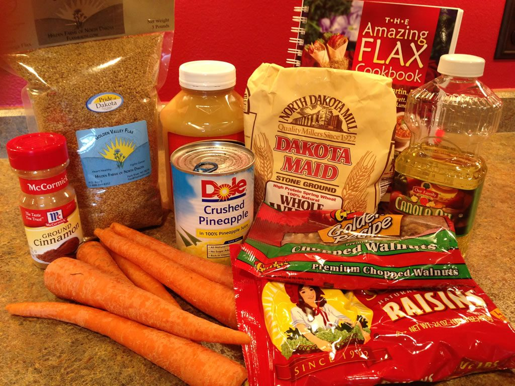 Flax carrot bar ingredients