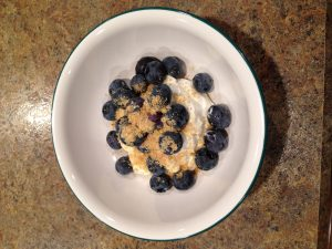 A bowl of flaxseed, blueberries and yoghurt