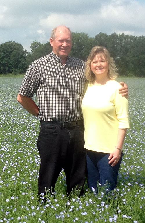 Mark and Esther in Flax Field | Golden Valley Flax