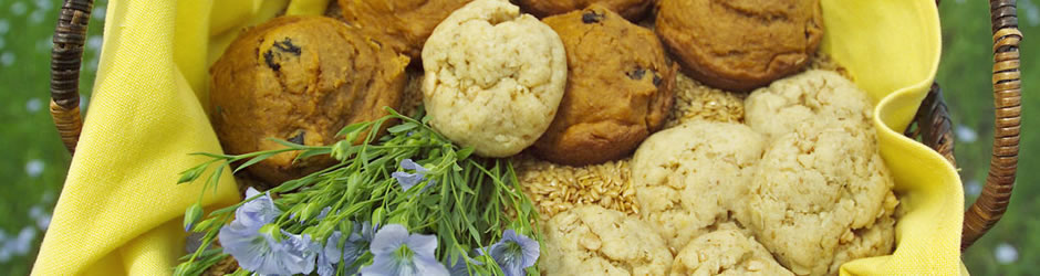 basket of flax muffins cookies