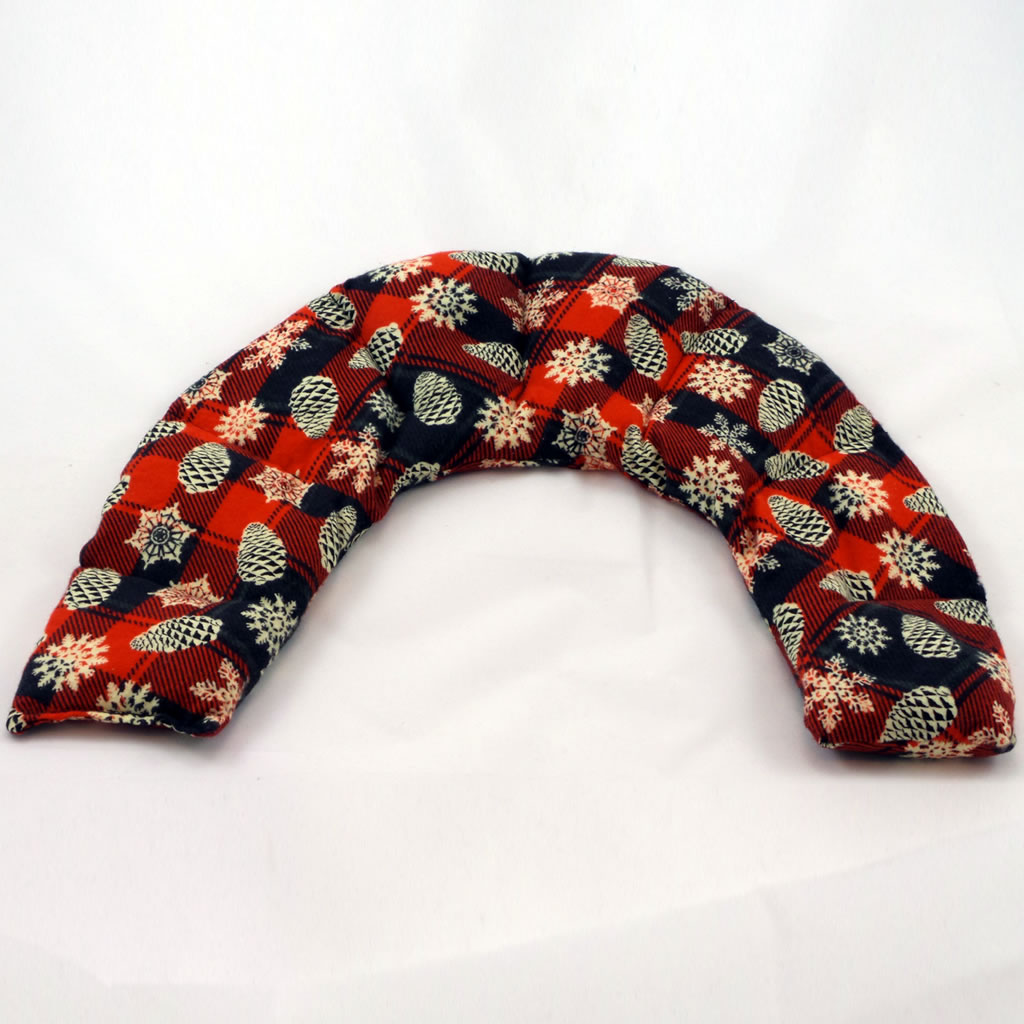 therapeutic flax shoulder pax red and black with pine cones